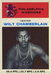 Wilt Chamberlain's classic 1961-62 Fleer basketball card.