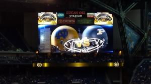 Purdue helmet on Lucas scoreboard