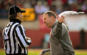 Bo Pelini carefully articulates his point.