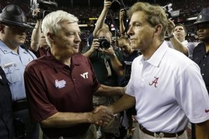Virginia Tech's Frank Beamer (L) and Satan (R)