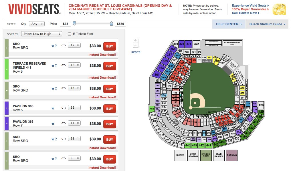 Cincinnati Reds at St. Louis Cardinals (Opening Day & 2014 Magnet Schedule Giveaway) Tickets - 4_7_2014 - (Private Browsing)
