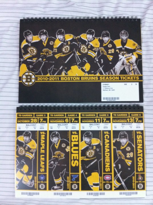 Boston Bruins 2010-2011 season tix