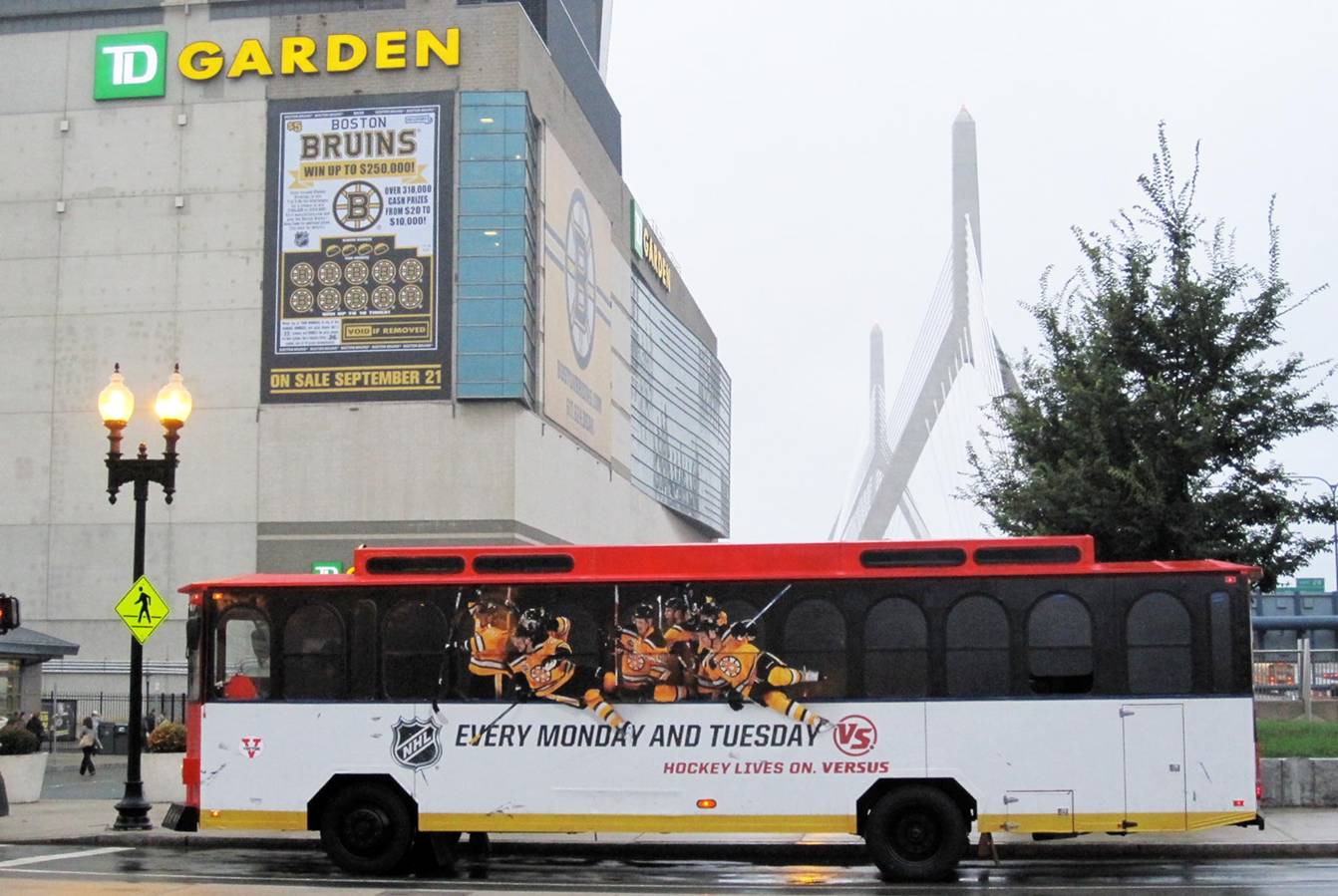 VERSUS ad Boston Bruins Trolley ad