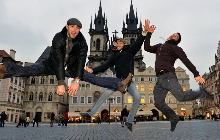 Mark Stuart, Patrice Berrgeron and Andrew Ference jump for joy
