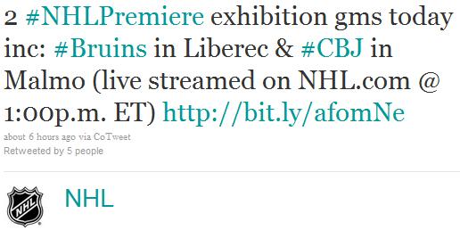 NHL Premier tweet