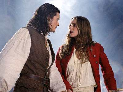 Orlando Bloom and Kiera Knighley in Pirates of the Caribbean