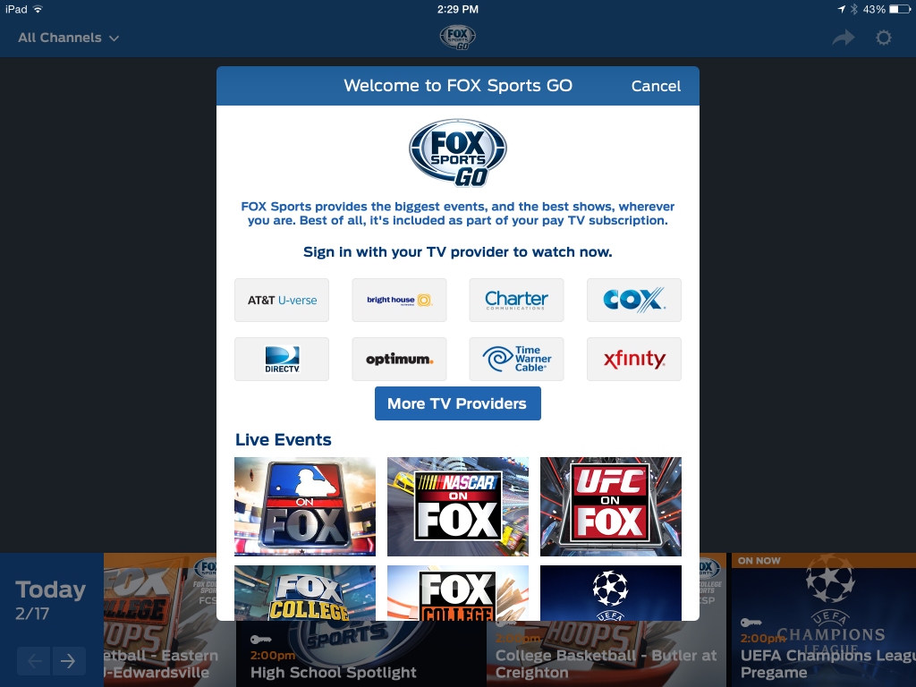 Fox Sports Go-DirecTV authentication