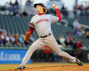 Henry Owens delivers a pitch for Portland. Photo by Kelly O'Connor, sittingstill.smugmug.com