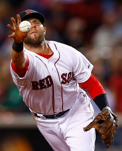 Dustin Pedroia might not hit like he used to, but his glove is as gold as ever. (Photo by Jared Wickerham/Getty Images)