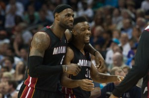 Lebron James & Norris Cole celebrate during Charlotte Bobcats series