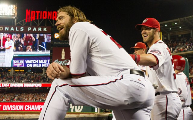 Jayson Werth has a laugh as the Nationals had clinched the NL East against the Phillies.