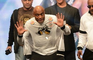 Anderson Silva hams it up at the UFC 168 weigh-ins
