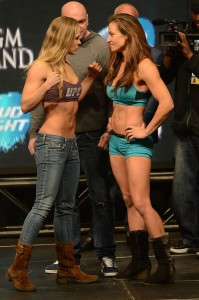 Ronda Rousey & Miesha Tate staredown at UFC 168 weigh-ins