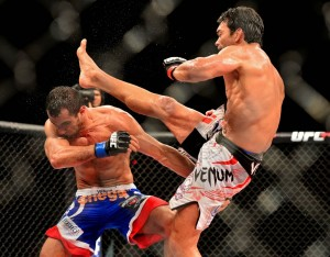 Lyoto Machida kicks Gegard Mousasi at UFC Fight Night