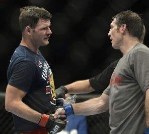 michael bisping & tim kennedy shake hands at tuf nations finale