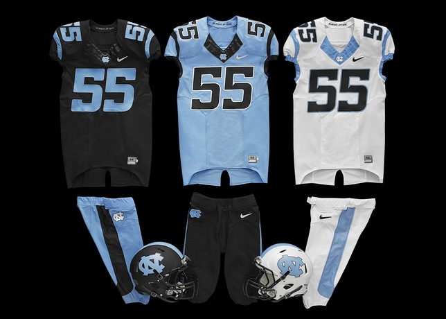 New North Carolina Tar Heels Football Uniforms