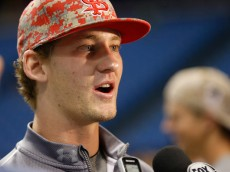ST. PETERSBURG, FL - JUNE 10:  Los Angeles Angels' 2015 first round draft pick, catcher Taylor Ward, of Fresno State, speaks to the media before the start of a game between the Los Angeles Angels and the Tampa Bay Rays on June 10, 2015 at Tropicana Field in St. Petersburg, Florida.  (Photo by Brian Blanco/Getty Images)