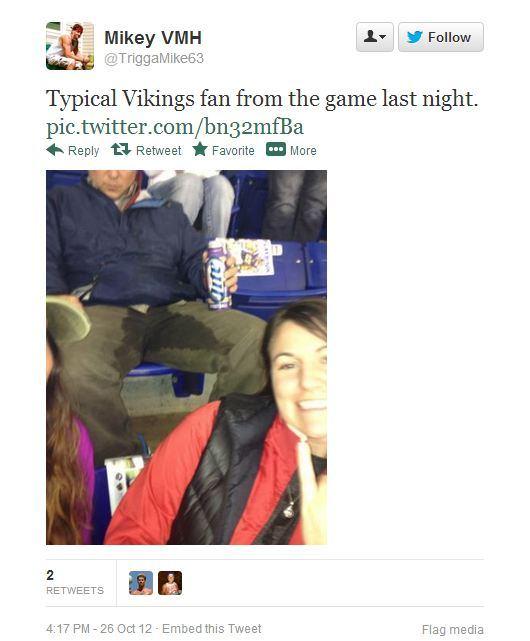 Vikings Fan Pees Tweet
