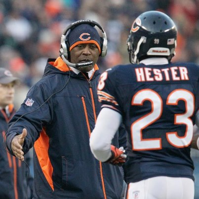Devin Hester and Lovie Smith
