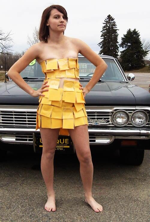 Packer girl in cheese dress