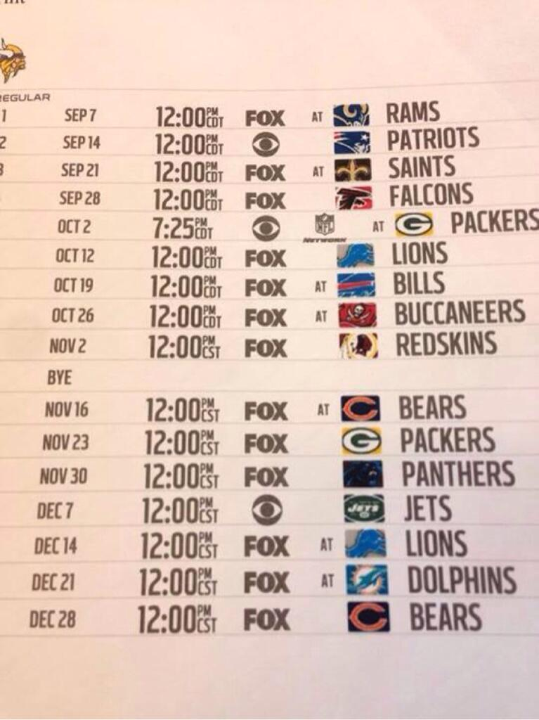 vikings 2014 schedule