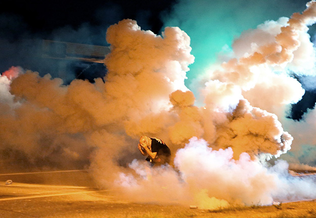 Police Shoot Tear Gas in Ferguson
