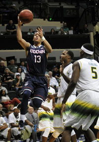 UConn's Shabazz Napier makes two of his game-high 17 points in the 2nd half.
