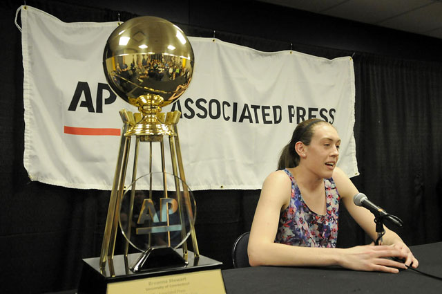 UConn forward Breanna Stewart thanks everyone for helping her be successful at UConn after she was named the AP Player of the Year Saturday at the NCAA Women's Final Four.