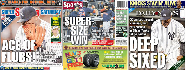 Boston Herald, NY Daily News & NY Post sports covers for Saturday, April 12, 2014