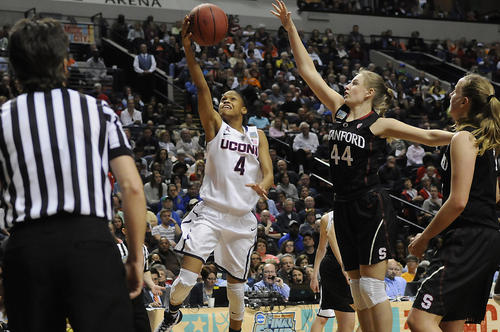 UConn guard Moriah Jefferson drives to the hoop against Stanford guard Karlie Samuelson.