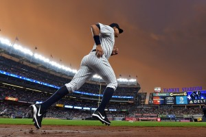 NEW YORK, NY - AUGUST 12: Alex Rodriguez #13 of the New York Yankees runs onto the field to warm up before the game against the Tampa Bay Rays at Yankee Stadium on August 12, 2016 in New York City. (Photo by Drew Hallowell/Getty Images)