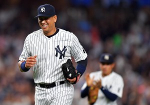 NEW YORK, NY - AUGUST 12: Alex Rodriguez #13 of the New York Yankees leaves the game in the ninth inning against the Tampa Bay Rays at Yankee Stadium on August 12, 2016 in New York City. (Photo by Drew Hallowell/Getty Images)