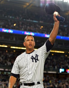 NEW YORK, NY - AUGUST 12: Alex Rodriguez #13 of the New York Yankees tips his hat to the crowd in the ninth inning against the Tampa Bay Rays at Yankee Stadium on August 12, 2016 in New York City. (Photo by Drew Hallowell/Getty Images)
