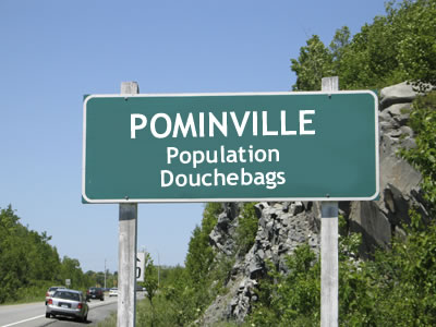 Pominville highway sign